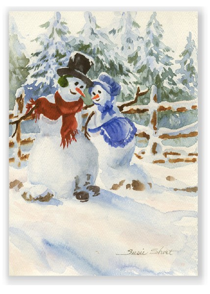 Snow Couple Christmas Watercolor Greeting Card by Susie Short