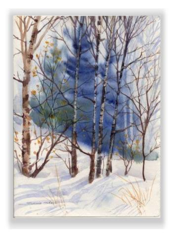 Christmas watercolor greeting card winter landscape by susie short m4hsunfo