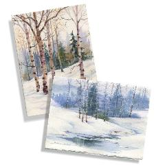 Winter Landscape Watercolor Cards